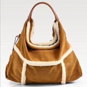 UGG Quinn leather & shearling hobo bag & clean kit